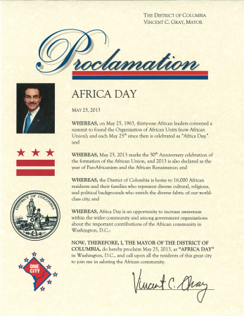The Africa Day Proclamation By The Mayor of the Washington DC