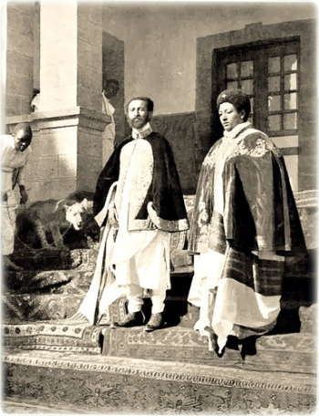 The Emperor with Empress Mennen surrounded with His Lions. lions is Ethiopian National Animal.