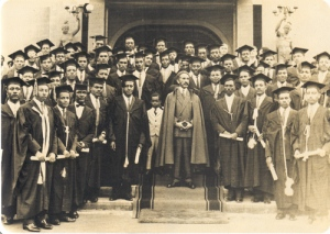 The Emperor Surrounded by Ethiopian and Other African Students who are given Scholarships.