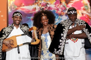 Temesegn  Zelekke with  the Krar seen  with singer Genet Asefa and Drummer Grum Begashaw