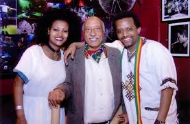 The Lead Performers of Kerar Collective seen with Mulatu Astatike ( Father of Ethiopian Jazz)